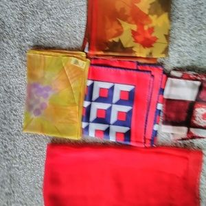 Accessories - Lot of 5 Vintage Scarves -Reds/Rust/Yellow